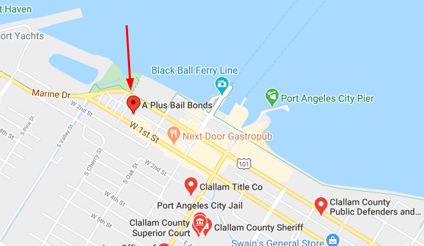 Map to A Plus Bail Bonds Office in Port Angeles Washington